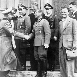 Von Braun-4th from lt-with smiling Nazis including SS