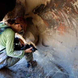 Christina-Walsh-in-Burro-Flats-Painted-Cave-1
