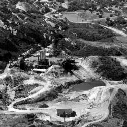 Aerial of Bravo Test Area - 1960 - Santa Susana - test stands - Alfa-Bravo ponds