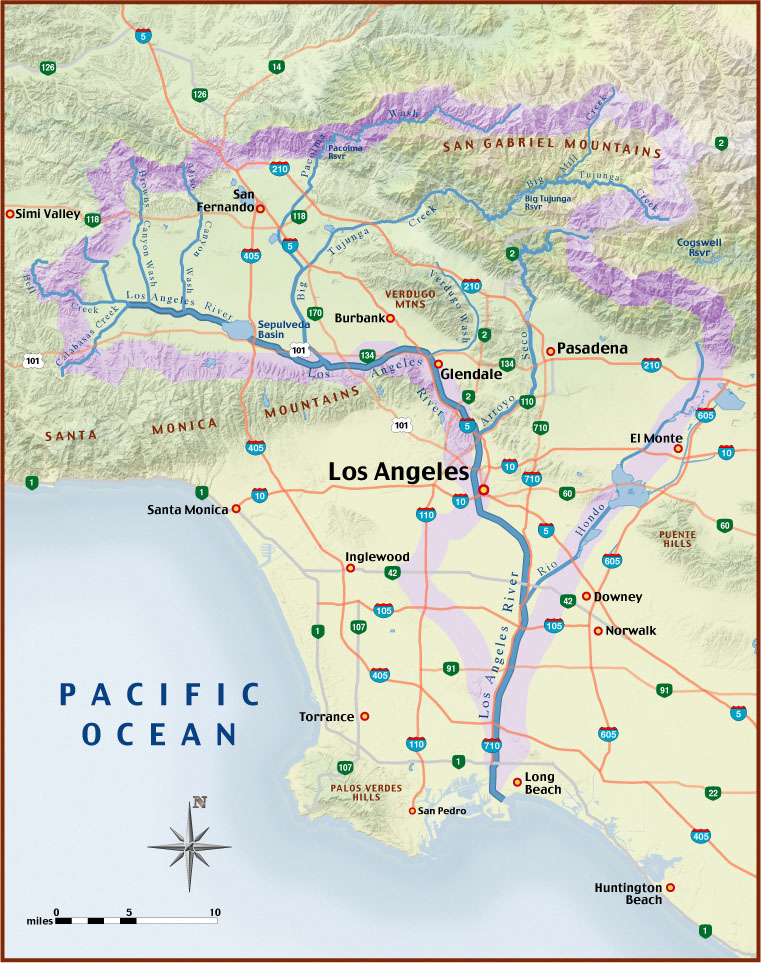 Los Angeles River Map Indiana Map - Los angeles river map
