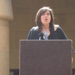 Ansje Miller of the Center for Environmental Health speaks on behalf of the CHANGE coalition