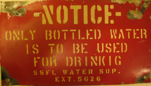 In Hot Water - misspelled sign at SSFL