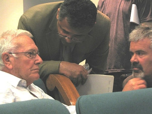 Rev. John Southwick, DTSC's Norm Riley and Frank Serafine in March `08 before Riley began working for developer KB Home.