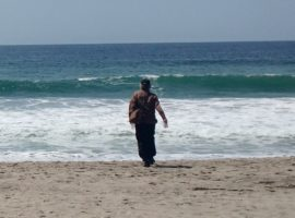 4-9-17 Pacific Ocean sampling-Zuma Beach in Malibu, California USA