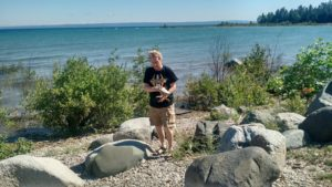 Michael Collins doing walkover gamma survey of former Big Rock Point nuclear power plant near Charlevoix, Michigan.