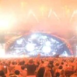 Screen capture from AEG YouTube video rendering of fireworks at rock concert at just-approved Farmers Field in Los Angeles.