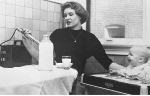 Mother testing milk for Sr-90 in 1960