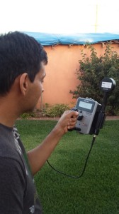 Hector Vazquez checks radiation in East Los Angeles
