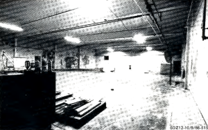 Plutonium fuel fabrication facility with glove boxes removed