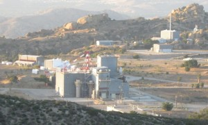 SSFL Area IV with plutonium fuel fabrication facility in foreground over hill crest