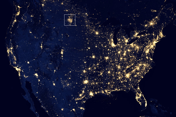 North Dakota fracking flares-2012 NASA