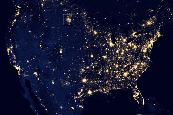 North Dakota fracking flares-2012 NASA
