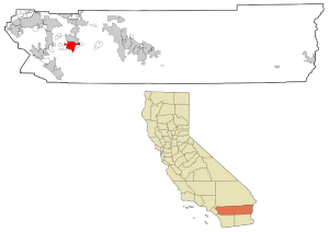 Riverside County California with Hemet highlighted