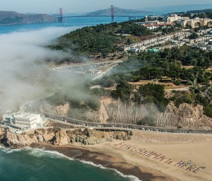 """500 people spell out """"FUKUSHIMA is HERE"""" on a San Francisco Beach October 19, 2013 - photo courtesy John Montgomery"""
