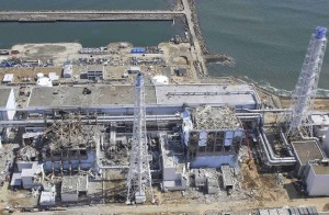 Destroyed Fukushima reactors next to Pacific Ocean