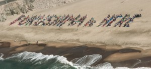 FUKUSHIMA is HERE human sign spelled out by 500 people on San Francisco beach October 19, 2013