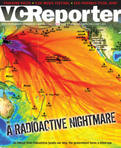 VC Reporter cover that falsely implies that radiation would spread across Pacific like this actual tsunami wave height map by NOAA shows