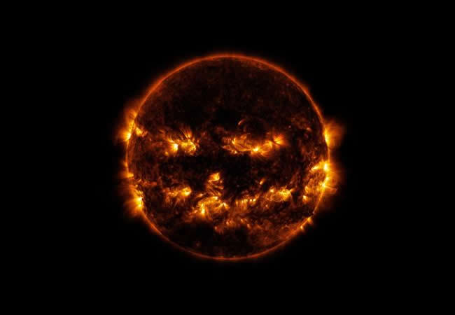 Lights Out Lantern - Oct 8 2014 Sun photo by NASA