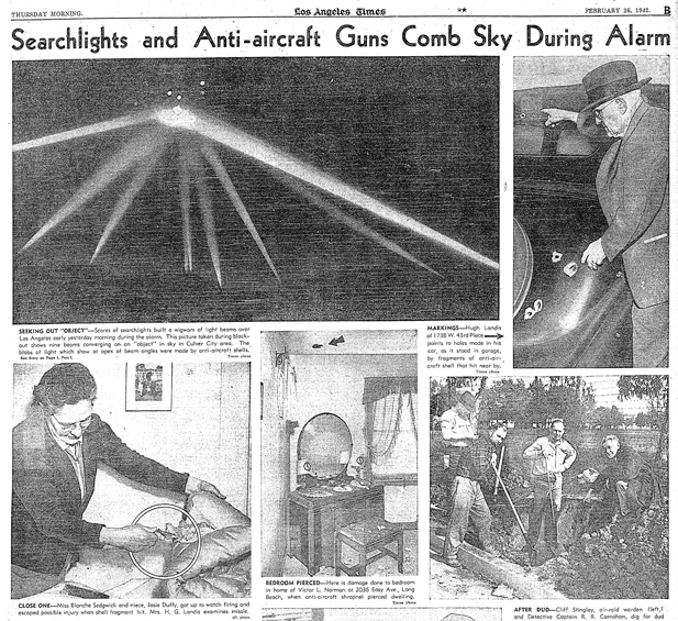 Battle of Los Angeles - February 26, 1942, Los Angeles Times