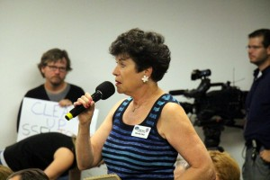 "Bonnie Klea at 8 Sept 2015 meeting. ""The Atomic Avenger"" worked at SSFL and advocates for nuclear workers harmed by radiation."