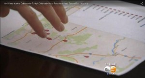 Map of rare child cancer cases near SSFL - KCAL 9 cbsLA screenshot