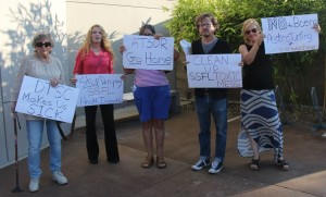 Protesters at Sept 8, 2015 DTSC meeting have fought for full cleanup of SSFL for decades.