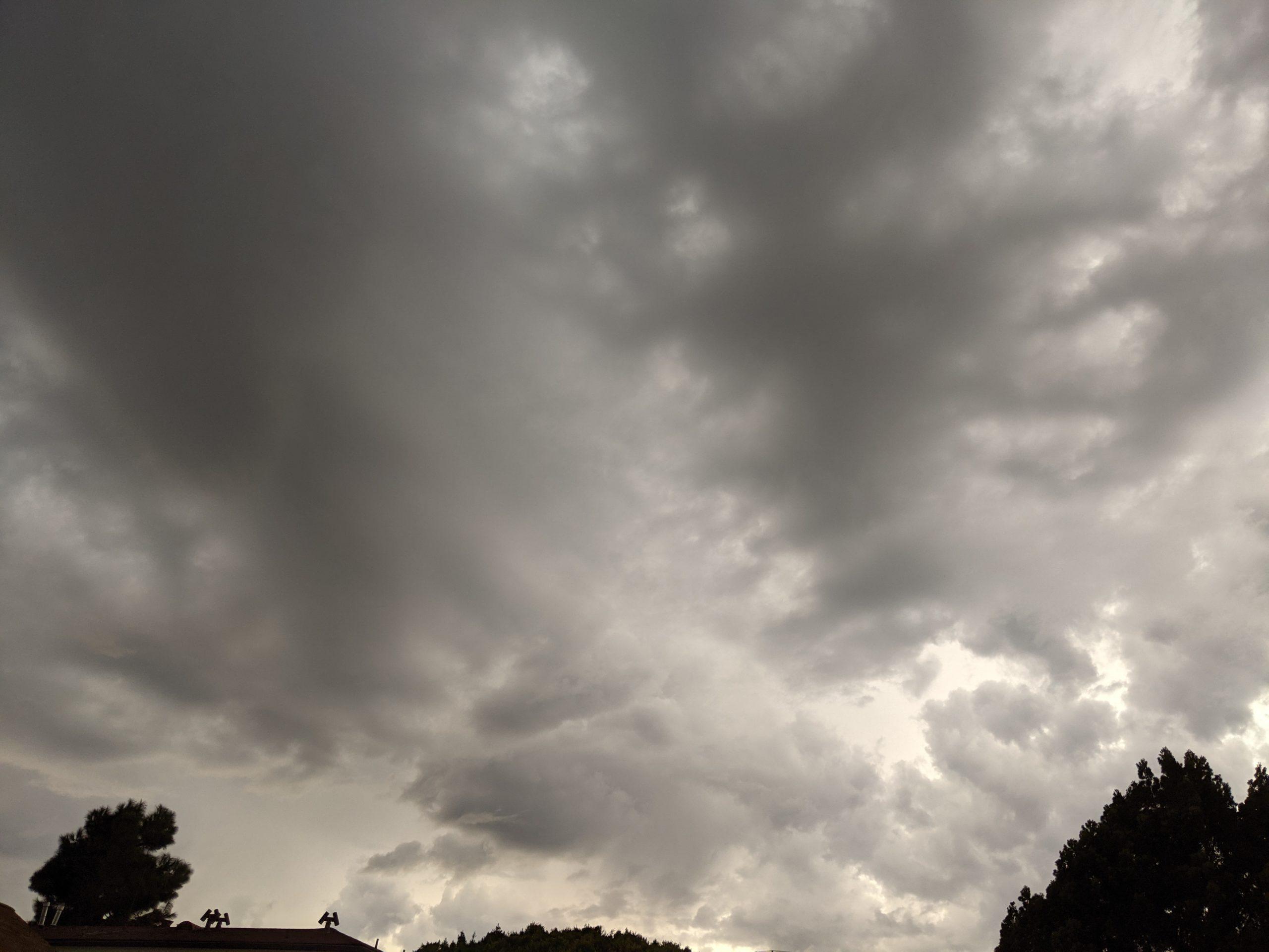 Rain at background over Santa Monica, California, on October 4, 2021